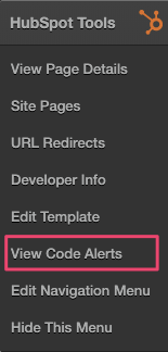 View Code Alerts from the Sprocket Menu