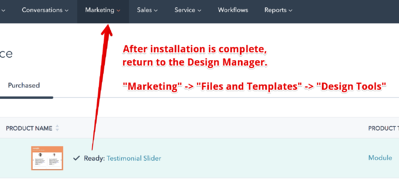 After Installing a Module in HubSpot CMS