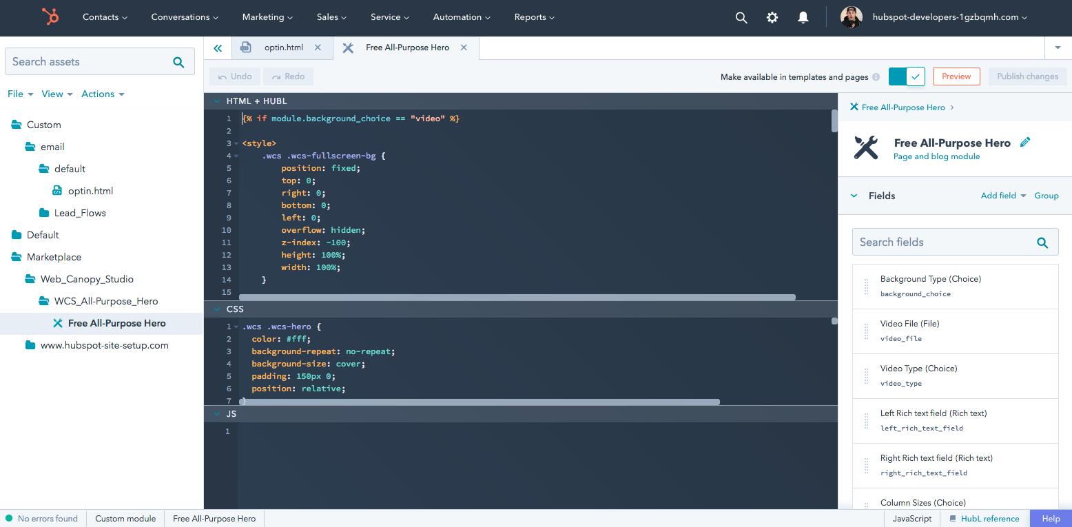 Free CMS developer sandbox for the HubSpot CMS