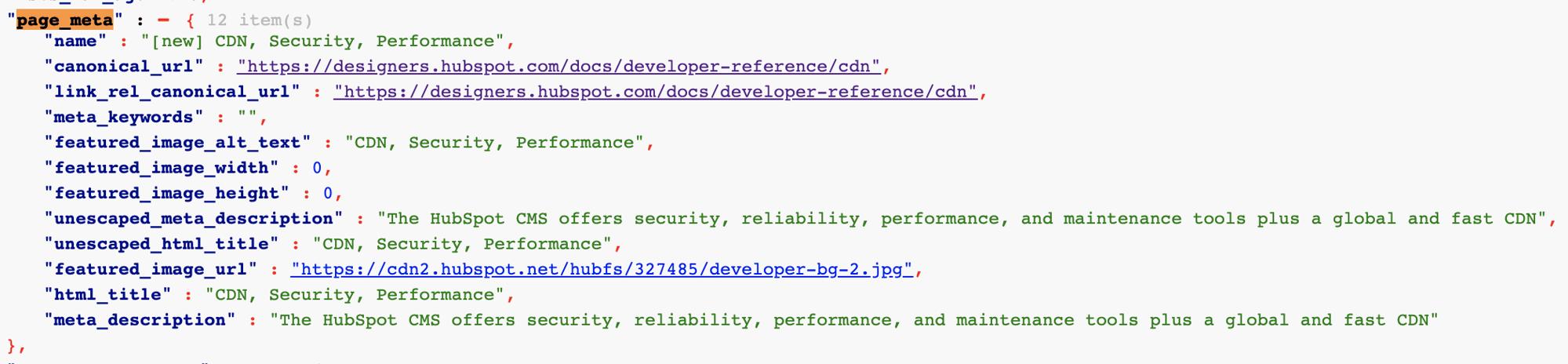 Developer info example