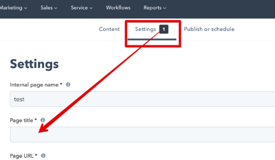 HubSpot CMS - Add Title to a page