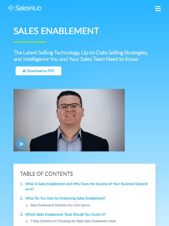 SalesHub Pillar Page - Tablet
