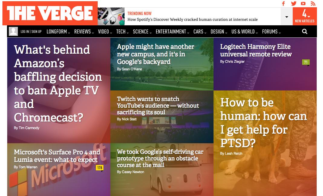 The Verge - Card Web Design