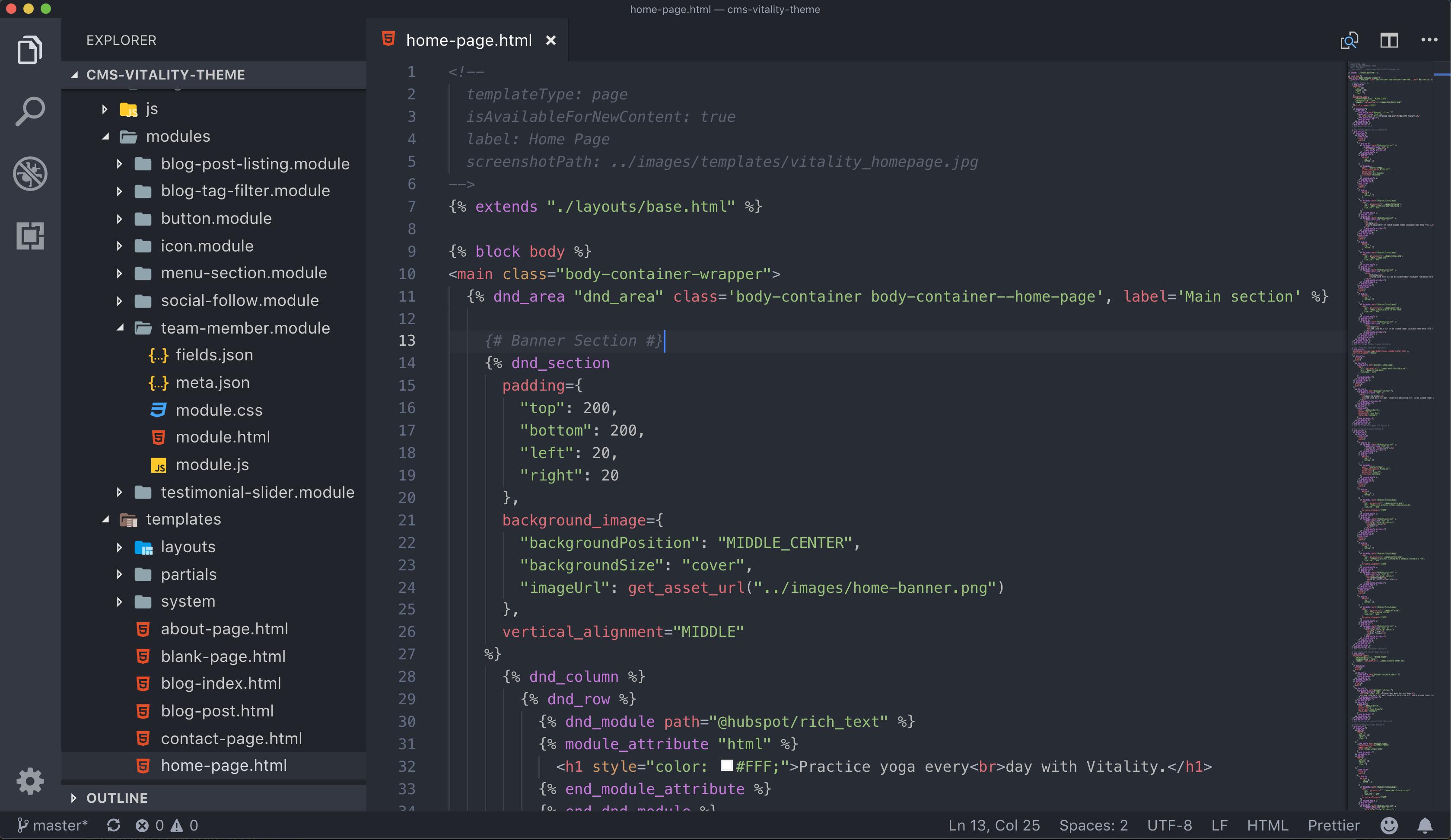 Vitality Homepage Template html
