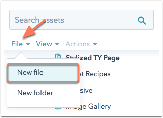 Design Manager UI showing New file dropdown