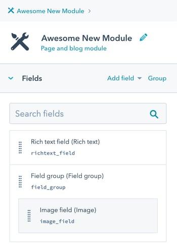 Fields area in a custom module