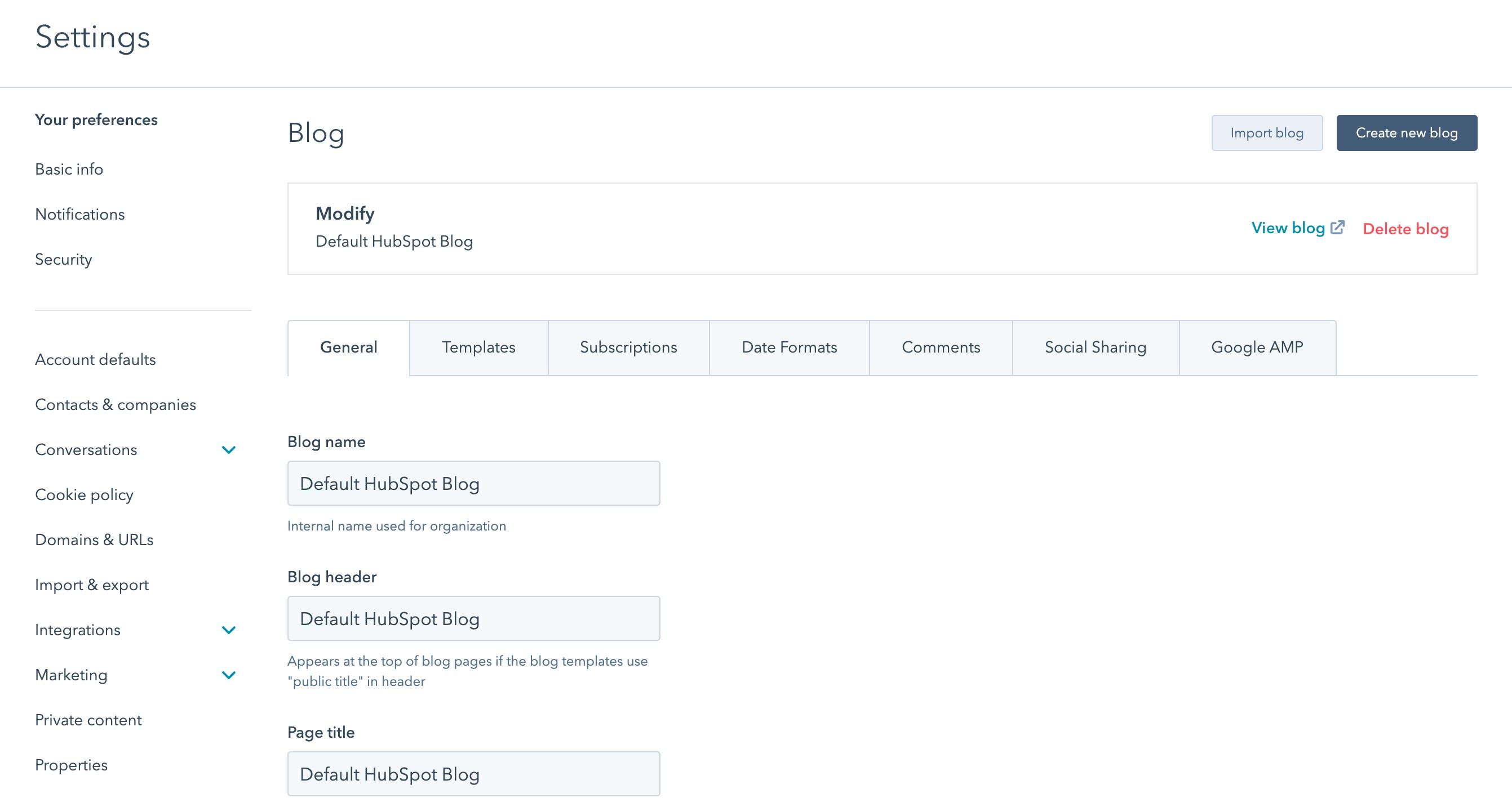 Blog settings screen