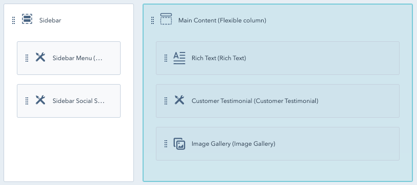 Design Manager interface with flexible column highlighted