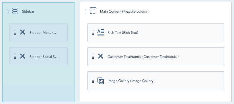 Design manager interface with Sidebar Group highlighted